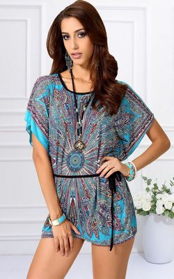 F56309 Women Chiffon Tunic Longshirt Womens Blouse Dresses